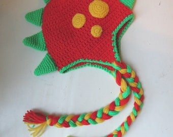 Crochet Dinosaur Character Hat, Spiked and Spotted Dinosaur hat, Handmade Crochet Character Hat, Dinosaur Costume, Crochet Dinosaur Beanie