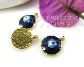 10 pc Mini Gold Coin Charms with Enameled Evil Eye, 22K Gold Plated Ottoman Coin Replica Charms, Turkish Jewelry, Good Luck Charms