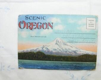 1940s Vintage Scenic Oregon Postcard Folder, Vintage Linen Postcard Fold-out
