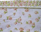 Texmade Truprest Peach Rose Floral & White Queen Size Flat Sheet with Green Picot Trim