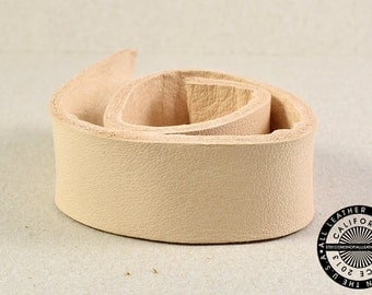 """Genuine Leather Strap, Bag Strap, Flat Leather, Raw Cut, Double-sided, Veg Tan, Natural, 20 mm (3/4"""" inch) 50 inches (1517)"""