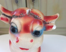 Carnival Chalkware Bull with Glitter Vintage Chalkware Figurine Vintage Bank Vintage Cow Bank Chalkware Collectible Vintage Rustic