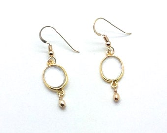 Transparency, Crystal Quartz, Gold Fill, Bezels, Hook Earrings, Gift Idea, Clear Color