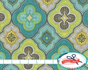 MOROCCO Fabric by the Yard, Fat Quarter Moroccan Fabric Teal Lime Aqua & Gray Fabric Apparel Fabric 100% Cotton Fabric Quilting Fabric a1-25