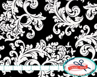 BLACK & WHITE Fabric by the Yard, Fat Quarter ELEGANCE Scroll Fabric Damask Fabric 100% Cotton Fabric Apparel Fabric Quilting Fabric a3-23