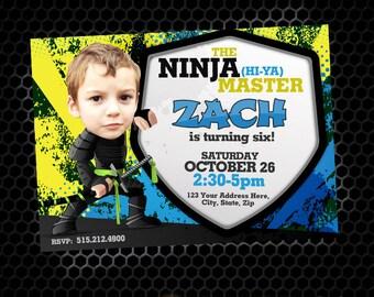Ninja Birthday Invitations, Ninja Invitations, DIY Printable