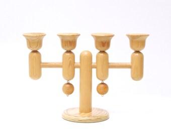 AARIKKA FINLAND CANDELABRA, Finnish Candle Holder, Mid Century Wooden Candleholder, Scandi Modern, Christmas Xmas, Aarikka Candelabra