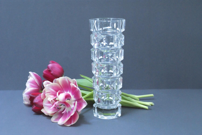cristal d 39 arques vase french lead crystal faceted. Black Bedroom Furniture Sets. Home Design Ideas