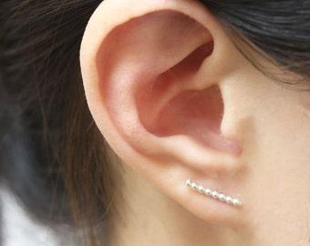 Long beaded wire bar earrings in Sterling silver  EE008