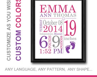 Birth Announcement Girl subway art, Personalized Baby Girl Gift Ideas, New Mom gift, Baby Birth Stats, Baby Announcement Print, Baby Decor