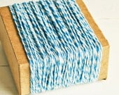 Thick Cotton Twine in Blue Twist - 10 Yards - Packaging Gift Wrapping String Cord Trim Ribbon Pretty Vintage Party Crafting Supply Decor