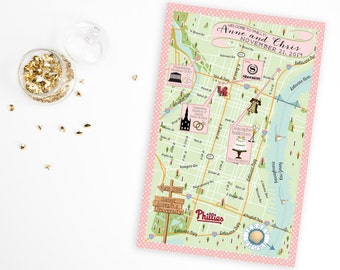 Custom Wedding MAP- Any Location Available-Philadelphia, Pennsylvania Map Pictured- Destination Wedding, City Map- Wedding Map Directions