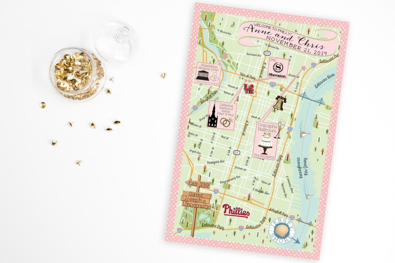 Wedding Invitation Map Maker: Custom Wedding MAP Any Location Available-Philadelphia