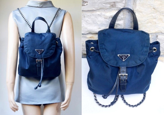 90s PRADA Chain Strap Nylon Navy Blue Backpack by VintageHongrie