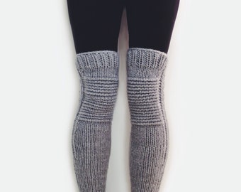 Knit Leg Warmers Motorcycle Padded Quilted Leggings // Moto Leg Warmers in Dumbo // Many Colors Available