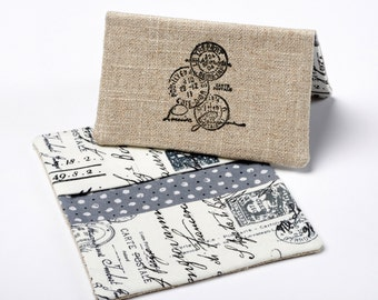 Fabric Bifold Wallet, Paris Card Holder, Business Card Case in French Script