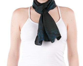 Turquoise and black silk scarf /black and turquoise arashi shibori silk dyed scarf  /  Hand dyed / 100% habotai silk