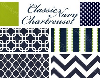 Custom Baby Boy Bedding - Blanket, Sheet and Crib Skirt in Geometrics, Chevrons, Navy and Lime