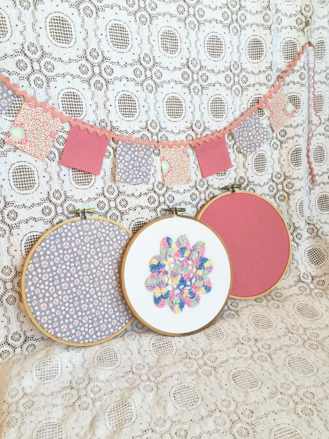 Fabric hoop art set of embroidery hoops with mini flag