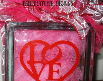 Valentine Glass Block*Love Glass Block*Wedding Decor Glass Block* Valentine Decoration* Double Sided Heart Glass Block*Lighted Valentine