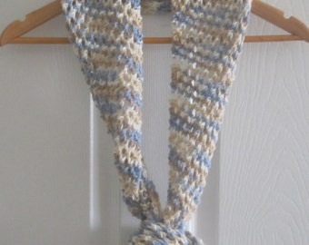 Long Skinny Scarf - Multi-Color Open Knit Infinity Scarf - Hand Knitting