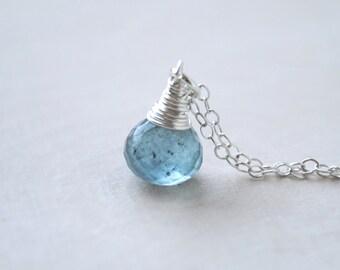 Moss Aquamarine Necklace, Aquamarine Drop Necklace, Aquamarine Jewelry