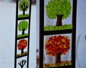 Four Season Vertical on Clear Glass - Fused Glass Art