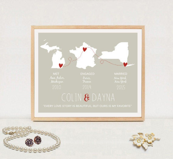 1st anniversary gift for wife custom wedding map gift for for Gift ideas for first wedding anniversary to wife