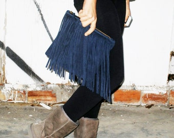 Suede leather clutch with fringes
