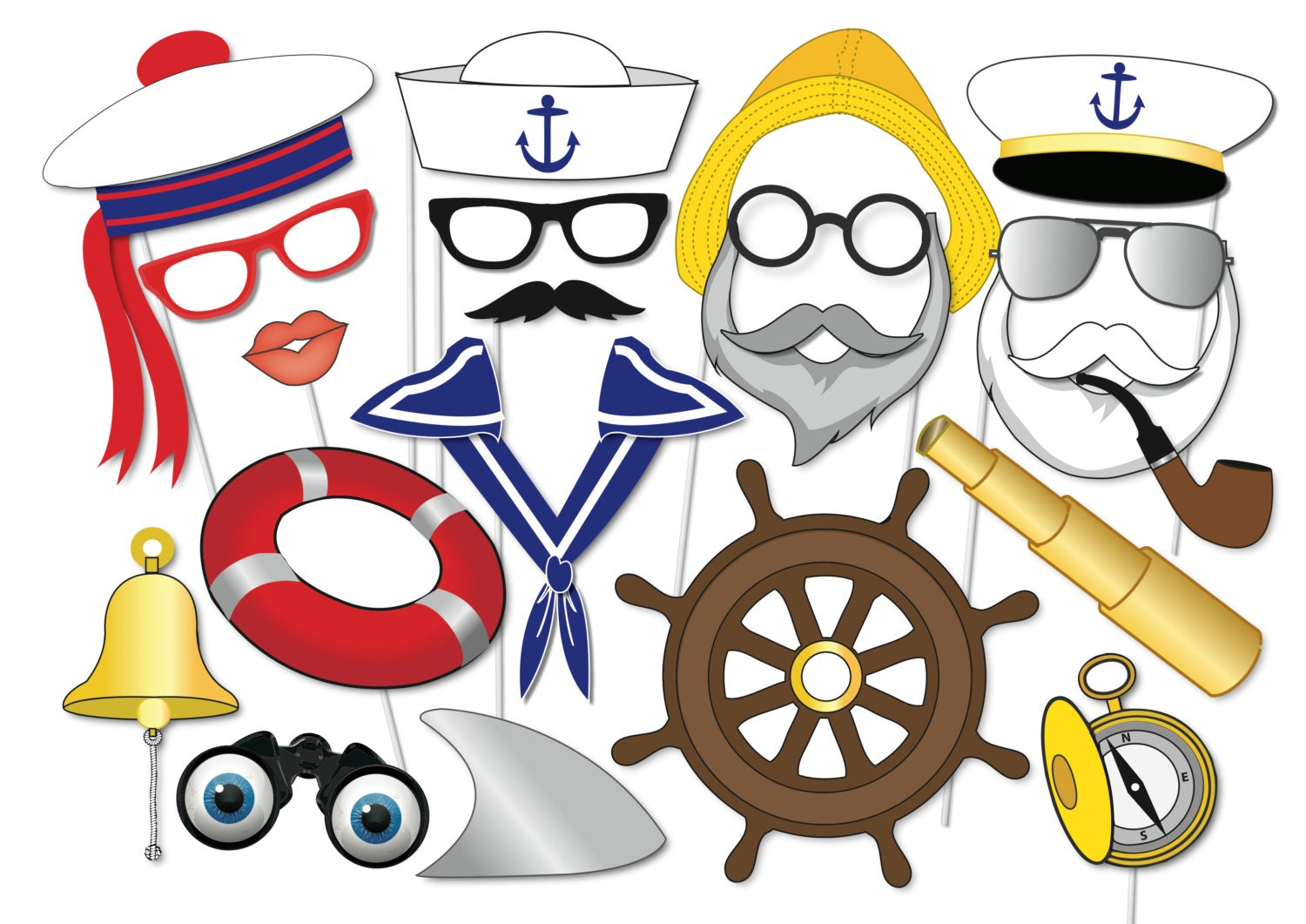nautical party photo booth props set 20 piece printable