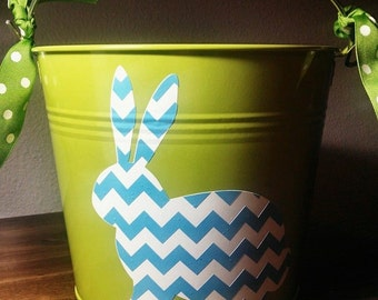 Personalized Easter Pail with Chevron Bunny and monogram. Perfect for your little ones first Easter Egg Hunt, or gift from the Easter Bunny!