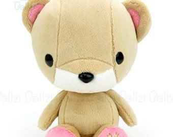 """Bellzi® Cute Brown """"Pink"""" Contrast Teddy Bear Toy Plush Doll -  Teddi"""
