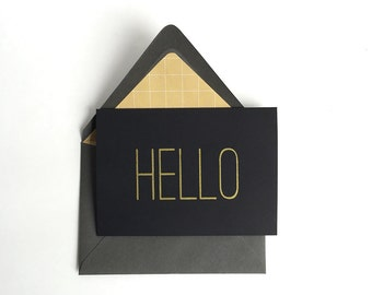 Sale - Hello A1 Blank Greeting Card. Black, Gold, Grey, Gray, Minimal Note Card, Handmade, Modern, Simple, any occasion, thank you card