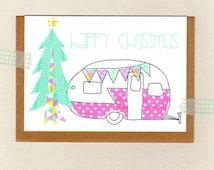 CARAVAN . happy christmas card . camper retro holiday pink collage wanderer nomad . oz au australia wandarrah etsyau