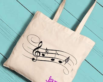 Personalized Tote - Canvas Tote Bag - Musical Notes Tote Bag - Music Lessons Tote - GC1276 MUSICNOTES
