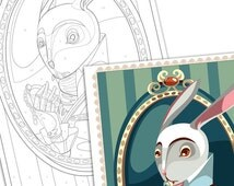 Paint by numbers -The White Rabbit -Instant download, illustration paint kit - Art Printable Pattern