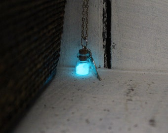 Aqua Blue Glass Glow Bottle (Small) with Wing Charm