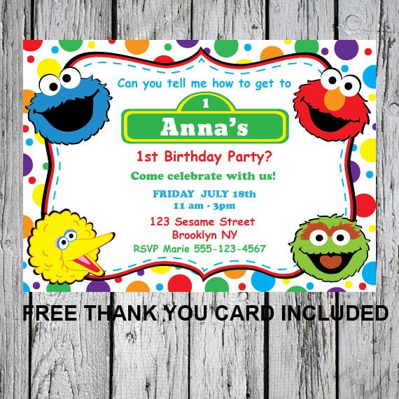 Printable sesame street invitation DIY invitation Elmo