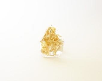 GOLD LEAF diamond statement resin RING and Sterling silver 925