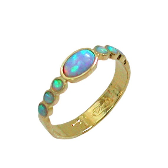blue opal gold ring 14k yellow gold plated by