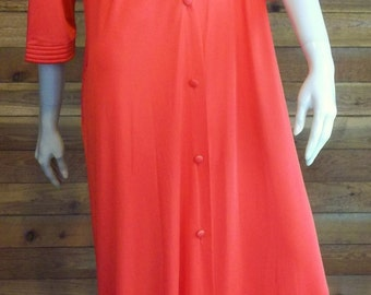 Vintage Lingerie 1960s J C PENNEY Red Medium Peignoir or Robe