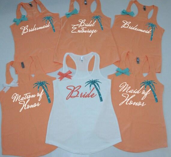 Bridesmaids Tank Tops With Palm Tree 10 Beach Theme