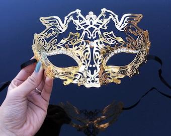 Masquerade Mask, Gold Masquerade Mask, Mardi Gras Mask, Mask, Gold Mask, Mardi Gras Mask, Masquerade Ball Mask, Mask with Rhinestones