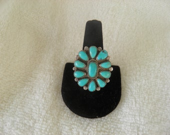 Sleeping Beauty Turquoise and Sterling Silver Cluster Ring