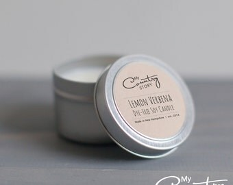 Lemon Verbena Soy Candle   4 oz. Soy Candle Tin   Hand Poured Soy Candles   Kitchen Candles   Citrus Candle