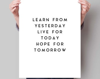 Inspirational Quote Print - Gift for Man - Live For Today - Mancave - Office Poster - Awesome Quote - Typography Print.