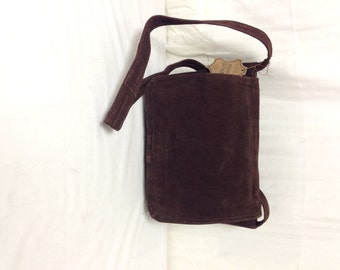 Suede leather purse, bag, Brown Leather, Purse ,Suede  leather,Shoulder Bag, Unused