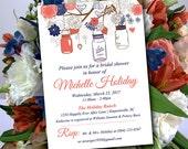 Rustic Bridal Shower Invitation Template - Mason Jar Wedding Shower Template Dark Coral Navy Blue Shower Invitation Download