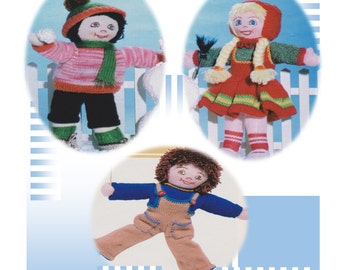 Knitted dolls and dolls clothes pattern, instant download, jumper, hat, dress, dungarees