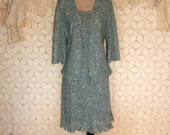 80s Dress Geometric Print Dress 2 Piece Dress & Jacket Day Dress Vintage Dresses 1980s Secretary Dress Size 12  Dress Large Womens Clothing